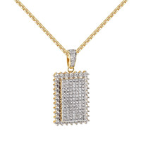 Iced Out Dog Tag Prong Set Pendant 14k Gold Finish Solitaire Charm XmasDeal