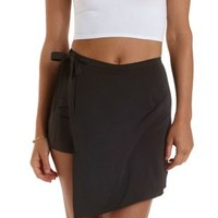 Black Tied Asymmetrical Wrap Skort by