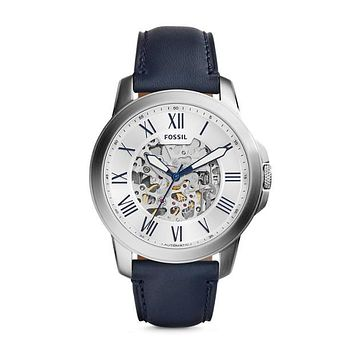 Grant Automatic Leather Watch, Navy & White | FOSSIL