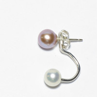 Freshwater Pearl Earring Jacket in Sterling Silver or Gold Filled, Round, White, Pink, Lavender, Custom Made Ear Jacket, Simple, Delicate
