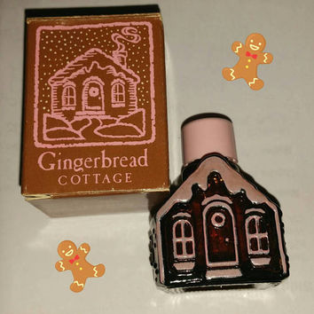 80s Avon GINGERBREAD COTTAGE CHARISMA Cologne Mini Perfume Bottle Decanter 1980s Kawaii Decor Vintage Vanity Holiday Collectible Gift Unused