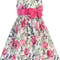 Fuschia Pink Floral Print Cotton Easter Spring Dress w Taffeta Sash (Toddler & Girls Size)