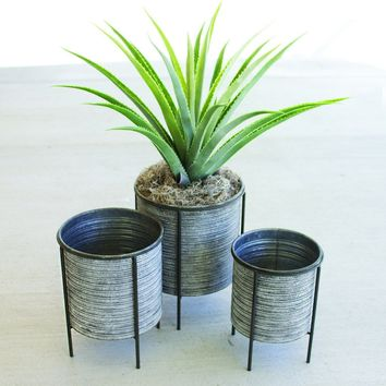 Galvanized Metal Planters with Iron Bases