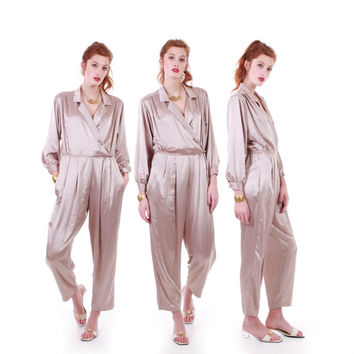 Vintage Champagne Jumpsuit Silky Shiny Casually Chic Tapered Fit Retro Disco High Waisted Clothing Women Size Small Medium