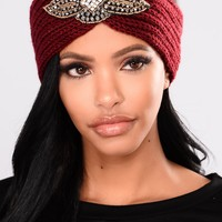 Crystal Cover Knit Headband - Burgundy