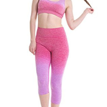Women's Ombre Three-quarter Tights Capri Yoga Sport Workout Leggings Pants