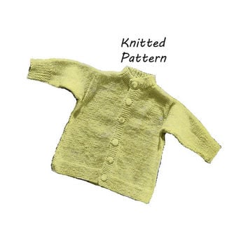 Infant Button-Down Sweater Knitting Pattern || Vintage 1960's || Reproduction PDF Instant Download 6033-60