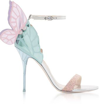Sophia Webster Silver & Pastel Mirror Leather Chiara Sandals