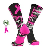 TCK Elite Woodland Camo Breast Cancer Aware Crew Socks, Football, Basketball