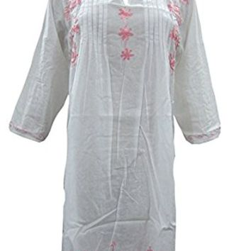 Womans Tunic Dress White with Pink Embroidered Cotton Kurti Yoga wear M