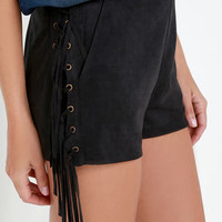 Ace of Suede Washed Black Suede Shorts