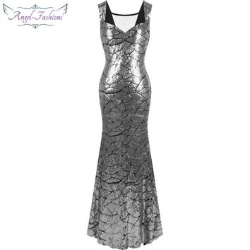 Angel-fashions Cap Sleeve Sequin Mermaid Long Evening Dress robe de soiree Black Silver 297
