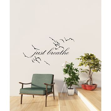 Vinyl Wall Decal Motivation Inspirational Words Just Breathe For Yoga Meditation Room Stickers (4289ig)