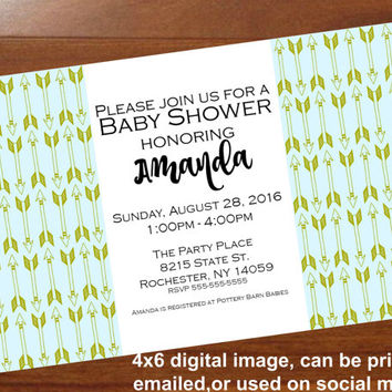 Boho Baby Shower invitation,Mint and gold baby shower,Arrow baby shower invite,Gender neutral,Tribal,personalized 4x6 printable invitation
