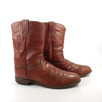 Justin Cowboy Boots Vintage 1980s Distressed Rust Brown Leather Roper Men's size 9 1/2 D