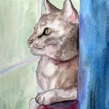 Tabby Cat Watercolor Painting, Home Decor, Animal Art