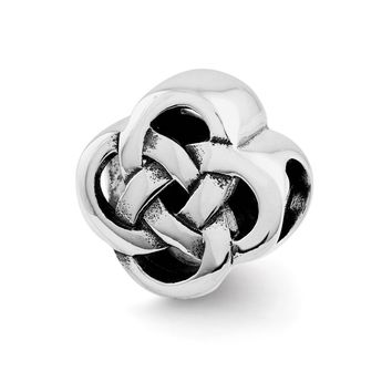 Sterling Silver Polished & Antiqued Celtic Knot Bead Charm