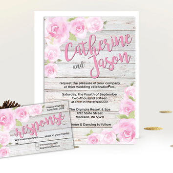 rustic wedding invitation set - rose garden invites - floral wedding suite - watercolor wood blush pink flowers - printed printable wedding