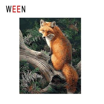 WEEN Fox Under Tree Diy Painting By Numbers Animal Oil Painting On Canvas Forest Cuadros Decoracion Acrylic Wall Art Home Decor