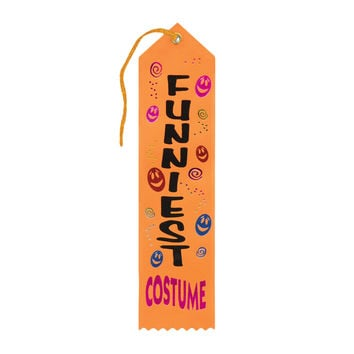 "Beistle Halloween Celebration Birthday Party Funniest Costume Award Ribbon 2"""" x 8"""" Pack of 6"