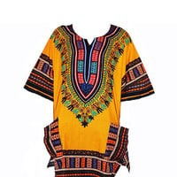 Free shipping!! Dashiki Shirt African dress Tribal Festival Kaftan Style Boho Hippie Shirt Women Caftan Dress Adults Colorful Bohemian