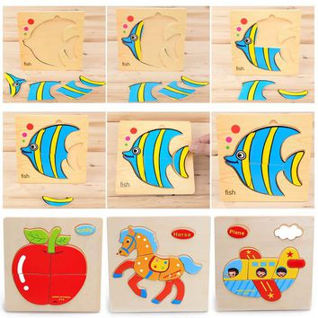 Kids Animals Wooden Educational Toys Games Jigsaw Puzzles Toys For Children