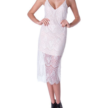 Socialite Lace Midi Dress White