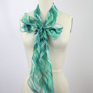 Mint Stripe COLOR POP bow scarf, solid chiffon bow scarf, bow bag bow shirt accessory