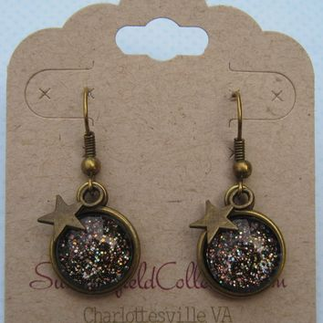 Antiqued Gold-Tone Glitter Glass Star Charm Galaxy Dangle Earrings Iridescent Black