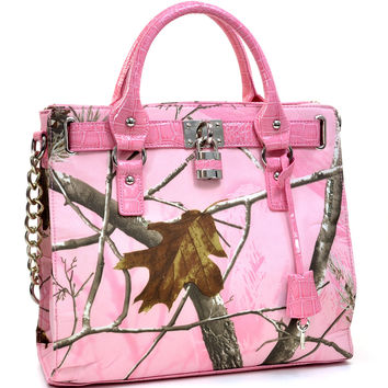 Realtree Camouflage Lock Tassel Satchel Bag - 500667A