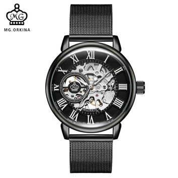 ORKINA Male Wristwatches 2018 Skeleton Dial Steampunk Mechanical Watch for Men Stainless Steel Mesh Band Herren Horloges