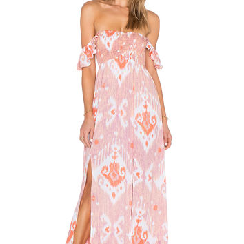 Tiare Hawaii Hollie Maxi Dress in Violet & Red Java Print