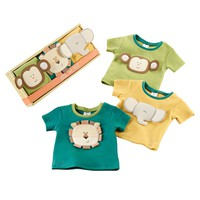 Baby Aspen 3-pk. Safari Animal Tiny Tee Gift Set - Baby Neutral, Size: One Size (Blue)