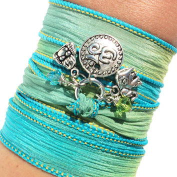 Namaste Buddha Silk Wrap Bracelet Yoga Jewlery Meditation Upper Arm Band Om Sacred Elephant Unique Gift For Her Christmas Under 50 Item X6