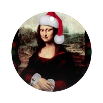 CHRISTMAS MONA LISA WEARING A SAN ORNAMENT (ROUND)