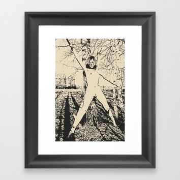 Slave girl, BDSM, Bondage in forest, woman tied to a tree, fetish artwork Framed Art Print by Peter Reiss