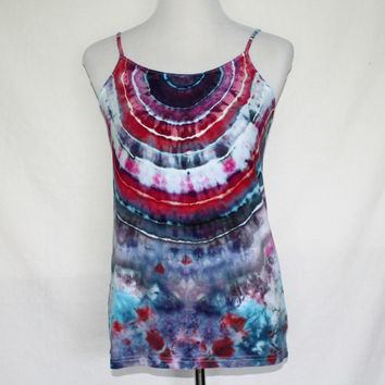 Black Tie Dye Tank Top, Plus Sized Tie Dye Tank Top, Hand Dyed Top, Tie Dye Camisole, Tye Dye Blouse, Size 2XL, Plus Sized Activewear