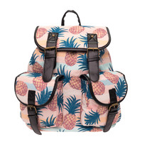 Retro Pineapple Printed Canvas Backpack
