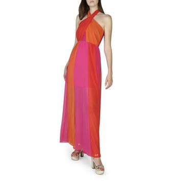"Women's Orange & Pink Multicolor Allover Print Italian ""Rinascimento"" Wrap Halter Maxi Dress"