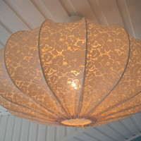 Lampshade, Pendant lamp made in vintage lace, shabby chic