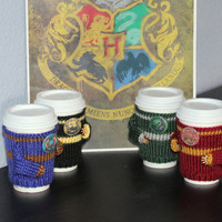Four coffee cozies set. Witchcraft Wizardry school alumni. Four houses. Lion badger serpent eagle badge Travel mug cozy Starbucks cup holder
