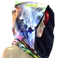 Reversable Hoodie Swirling Smoke & Black Cowl Hood
