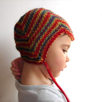 Rainbow striped aviator hat, wool baby hat, hat for children, with crochet rose or pompom, choose your size