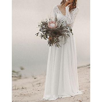 A-Line V Neck Sweep / Brush Train Chiffon Long Sleeve Beach Backless Made-To-Measure Wedding Dresses with Lace Insert 2020