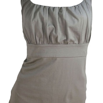 Ann Taylor Wide Strap Empire Tank Top (Taupe Brown Solid)