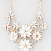 FULL TILT 2 Row Facet Flower Statement Necklace | Necklaces
