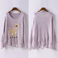 Sweet Cartoon Pattern Distressed Sweater