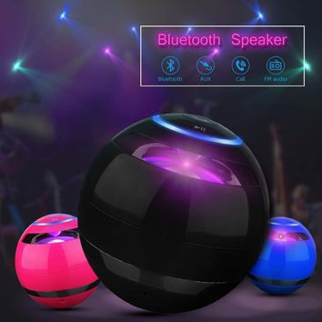 HOT Ultra-Portable Colorful Karaoke Wireless Bluetooth Speaker Powerful Sound with Microphone Muliti-color LED Flashing