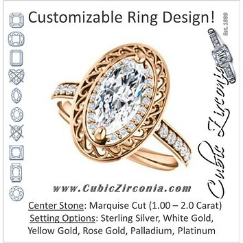 Cubic Zirconia Engagement Ring- The Ariané Contessa (Customizable Cathedral-style Marquise Cut featuring Cluster Accented Filigree Setting & Pavé Band)