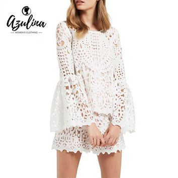 AZULINA Hollow Out Crochet Lace Blouse Women Elegant Cotton Lace Cool Blouse Blusas with tank top Long Sleeve White Tops 2017